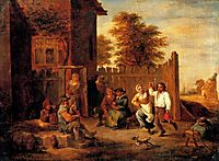 Peasants merrying outside an inn, teniers