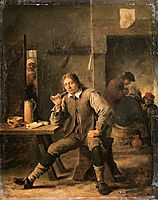 A Smoker Leaning on a Table, 1643, teniers