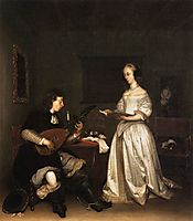 The Duet: Singer and Theorbo Player, c.1660, terborch