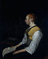 Girl in Peasant Costume. Probably Gesina the Painter-s Half Sister., c.1650, terborch