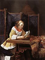 A Lady Reading a Letter, terborch