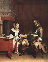 Man Offering a Woman Coins, c.1663, terborch