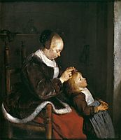 Mother Combing the Hair of Her Child, c.1653, terborch