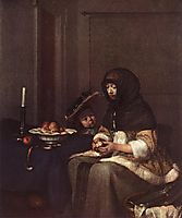Woman Peeling Apple, 1650, terborch