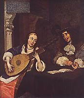 Woman Playing the Lute, terborch