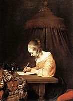 Woman Writing A Letter, c.1655, terborch