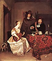 A Young Woman Playing a Theorbo to Two Men, c.1668, terborch