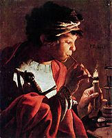 Boy Lighting a Pipe, terbrugghen