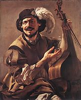 A Laughing Bravo with a Bass Viol and a Glass, terbrugghen