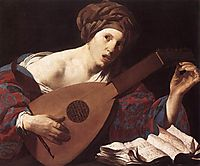 Woman Playing the Lute, terbrugghen