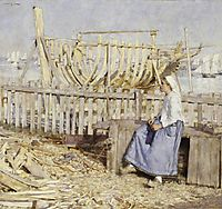 The Boat Builder-s Yard, Cancale, Brittany, 1881, thangue