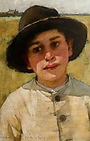 Study of a Boy in a Black Hat, before a Cornfield, thangue