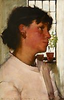 Study of the Bust of a Young Cornishwoman, with a Window behind, thangue