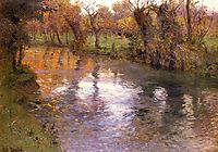 An Orchard on the Banks of a River, thaulow