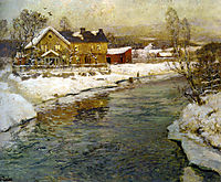 Cottage by a Canal in the Snow, thaulow