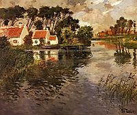 Cottages by a River, thaulow