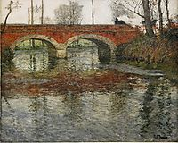 French River Landscape with a Stone Bridge, thaulow