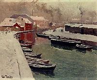 A Snowy Harbor View, thaulow