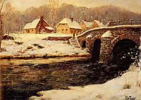 A Stone Bridge Over a Stream in Winter, thaulow