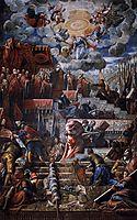 Doge Nicolò da Ponte receiving a laurel crown of Venice, 1584, tintoretto