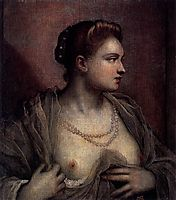 Portrait of a Woman Revealing Her Breasts, c.1570, tintoretto
