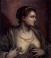 Portrait of a woman showing her breasts, 1570, tintoretto