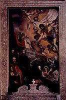 Risen Christ with St.Andrew and members of Morosini family, tintoretto