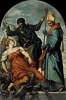 St Louis, St George, and the Princess, c.1553, tintoretto