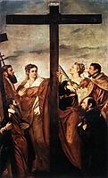 Sts Helen and Barbara Adoring the Cross, tintoretto