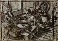 Venus and Mars surprised by Vulcan_sketch, 1551, tintoretto