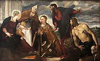 Virgin and Child with Saint Catherine, Saint Augustine, Saint Marc and Saint John the Baptist, 1550, tintoretto
