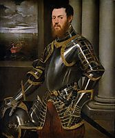 Young man in a gold decorated suit of armour, 1556, tintoretto
