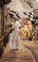 A Fete Day at Brighton (Naval flags of various European nations seen In background), c.1878, tissot