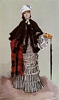 A Lady in a black and white Dress, tissot