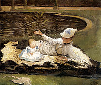 Mrs Newton with a Child by a Pool, tissot