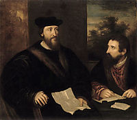 French Cardinal Georges d`Armagnac and his secretary G. Philandrier, titian