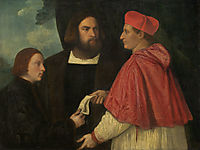 Girolamo and Cardinal Marco Corner Investing Marco, Abbot of Carrara, with His Benefice, c.1520, titian