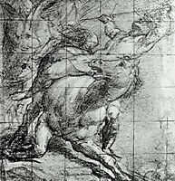 Horse and Rider Black chalk on blue paper, c.1537, titian