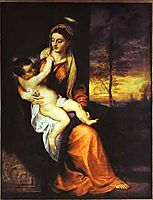Madonna and Child in an Evening Landscape, 1565, titian