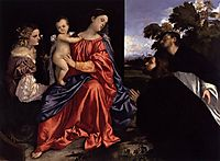 Madonna and Child with Sts Catherine and Dominic and a Donor, 1516, titian