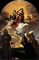 Madonna in Glory with the Christ Child and Sts Francis and Alvise with the Donor, 1520, titian