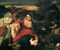 Madonna and Child with Saint Catherine and a Rabbit, 1530, titian