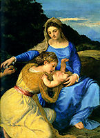 Madonna and Child with the Young Saint John the Baptist and Saint Catherine, detail, 1530, titian