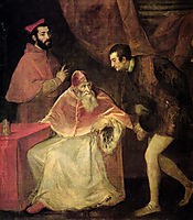 Pope Paul III and his Cousins Alessandro and Ottavio Farnese, 1546, titian