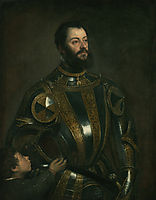 Portrait of Alfonso d`Avalos , in Armor with a Page, c.1533, titian