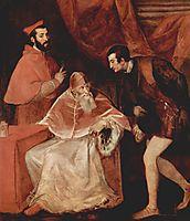 Portrait of Pope Paul III, Cardinal Alessandro Farnese and Duke Ottavio Farnese, 1546, titian