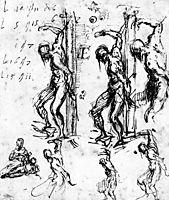 Studies of Saint Sebastian, 1520, titian