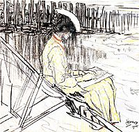Portrait of Emma Bellwidt on the Beach at Domburg, 1905, toorop