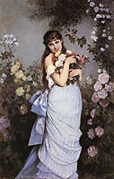 A Young Woman in a Rose Garden, 1886, toulmouche