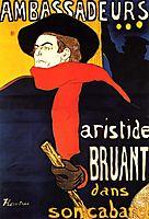Ambassadeurs Aristide Bruant in his cabaret, 1892, toulouselautrec